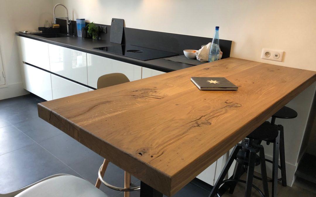PLATEAU DE TABLE À MANGER EN CHÊNE RUSTIQUE